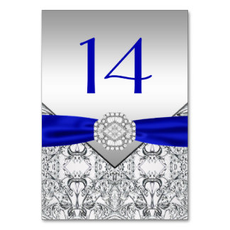 Elegant Royal Blue Silver Wedding Table Cards