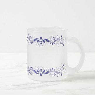 Elegant Royal Blue Swirls Lace Border Frosted Glass Mug