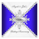 Elegant Royal Blue White 25th Wedding Anniversary