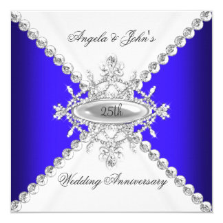 Elegant Royal Blue White 25th Wedding Anniversary 13 Cm X 13 Cm Square Invitation Card