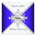 Elegant Royal Blue White 25th Wedding Anniversary Custom Invite