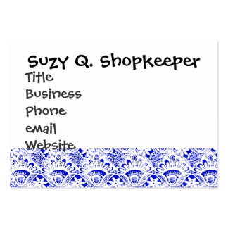 Elegant Royal Blue White Lace Damask Pattern Pack Of Chubby Business Cards