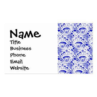 Elegant Royal Blue White Lace Damask Pattern Pack Of Standard Business Cards