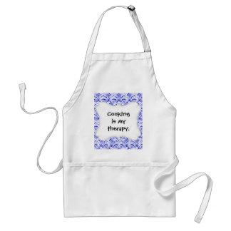 Elegant Royal Blue White Lace Damask Pattern Standard Apron