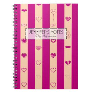 Elegant Royal Fuchsia Stripes Modern Heart Pattern Spiral Notebook