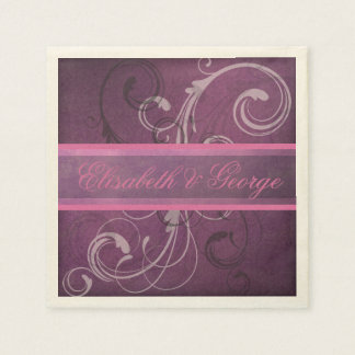 Elegant Royal Purple Grunge Damask Swirls Wedding Disposable Napkin