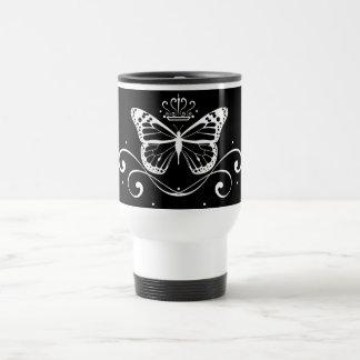 Elegant Royal white Butterfly Stainless Steel Travel Mug