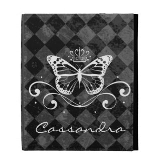 Elegant Royal White Butterfly with name iPad Folio Covers