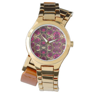 Elegant Ruby Gold Gemstone Pattern Watch
