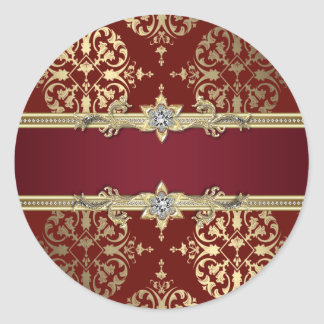 Elegant Ruby Red Gold Damask Stickers