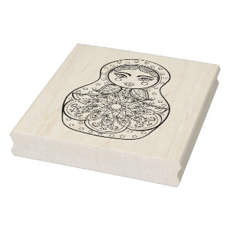 Elegant Russian Doll Rubber Stamp