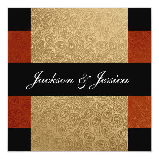 Elegant Rust Gold Paisley Engagement Party 5.25x5.25 Square Paper Invitation Card