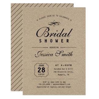 Elegant Rustic Black & Kraft Bridal Shower Card