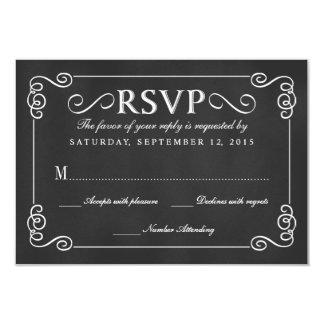 Elegant Rustic Chalkboard Wedding RSVP 9 Cm X 13 Cm Invitation Card