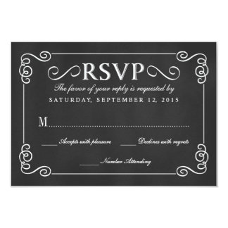 Elegant Rustic Chalkboard Wedding RSVP Card