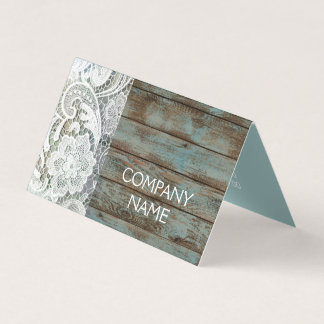 elegant rustic country white lace blue barn wood card