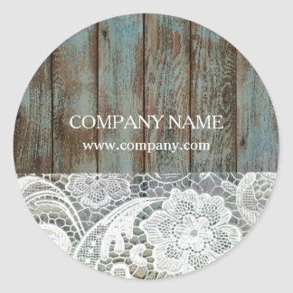 elegant rustic country white lace blue barn wood classic round sticker