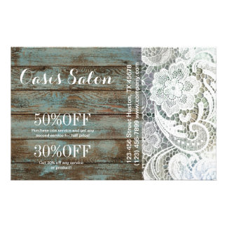 elegant rustic country white lace blue barn wood flyer