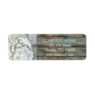 elegant rustic country white lace blue barn wood return address label
