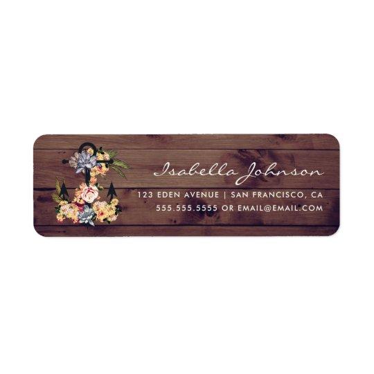 Elegant Rustic Floral Anchor & Rustic Wood Return Address Label