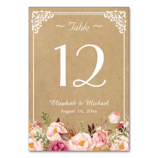 Elegant Rustic Floral Kraft Wedding Table Number Table Cards