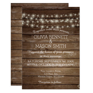 Elegant Rustic Lights Wedding Card