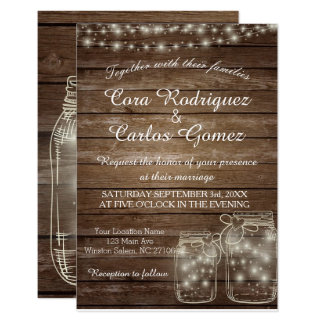 Elegant Rustic Mason Jar Lights Wedding Card