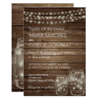 Elegant Rustic Mason Jar Lights Wedding Invitation