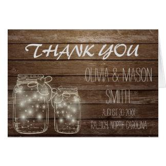 Elegant Rustic Mason Jar Lights Wedding Thank You Card