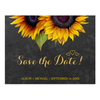 Elegant rustic sunflower fall save date wedding postcard