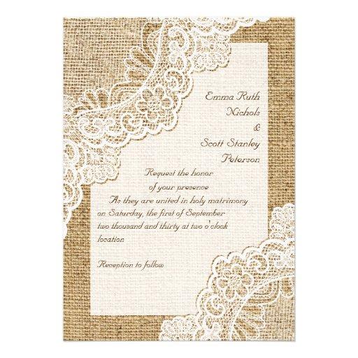 Elegant Rustic White Corner Lace On Burlap Wedding 13 Cm X