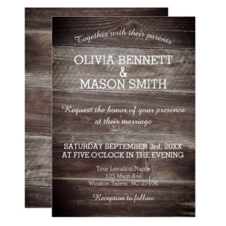 Elegant Rustic Wood textured Wedding Card