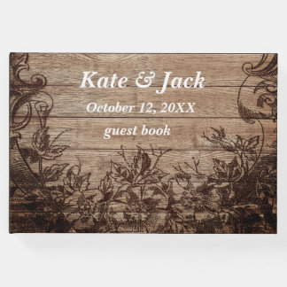 Elegant Rustic Wood Vintage Wedding Guest Book