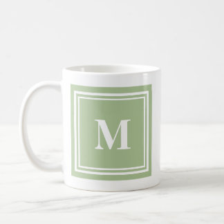 Elegant Sage Green Colored Block Frame Monogram Coffee Mug