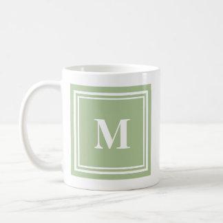 Elegant Sage Green Colored Block Frame Monogram Coffee Mug