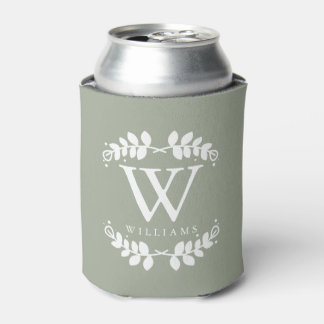 Elegant Sage Green Monogram Can Cooler