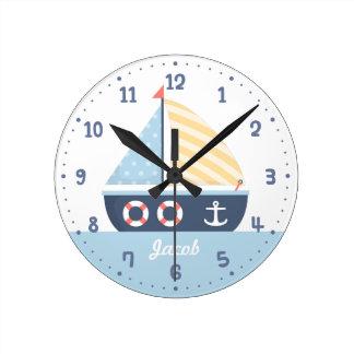 Elegant Sail boat Nautical Theme For Boys Room Wallclocks