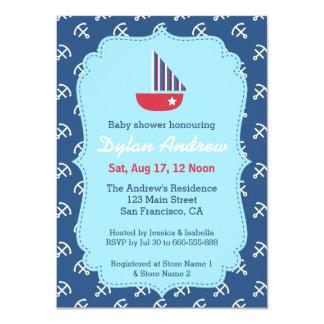 Elegant Sailboat Anchor Nautical baby shower Personalized Invite