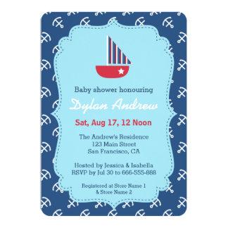 Elegant Sailboat Anchor Nautical Theme baby shower Cards
