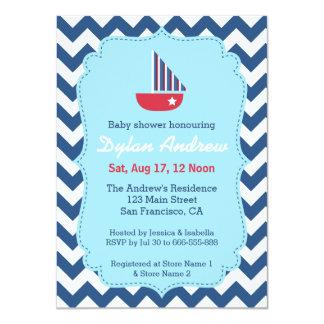 Elegant Sailboat Nautical baby shower, Chevron Personalized Announcement