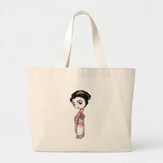 Elegant Sakura Geisha Large Tote Bag