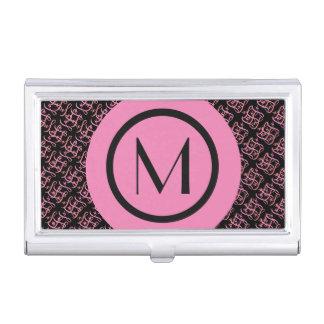 Elegant Salmon & Pink Parisian Initial Monogram Business Card Holder