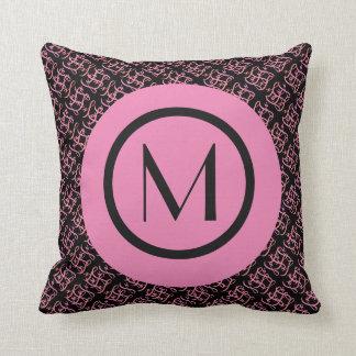 Elegant Salmon & Pink Parisian Initial Monogram Cushion
