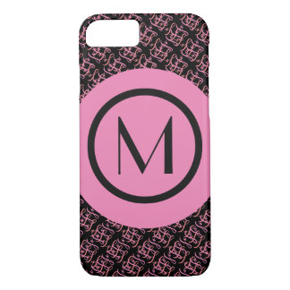 Elegant Salmon & Pink Parisian Initial Monogram iPhone 8/7 Case