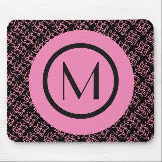 Elegant Salmon & Pink Parisian Initial Monogram Mouse Pad