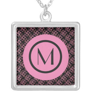 Elegant Salmon & Pink Parisian Initial Monogram Silver Plated Necklace