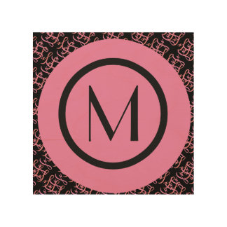 Elegant Salmon & Pink Parisian Initial Monogram Wood Wall Decor