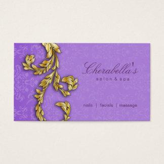 Elegant Salon Spa Floral Gold Leaf Purple Lilac