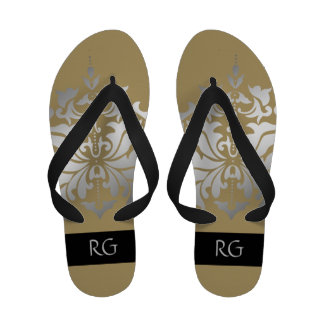 Elegant Sand and Grey Damask Monogrammed Sandals