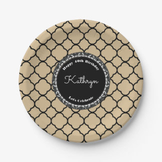 Elegant Sand Moroccan Birthday 7 Inch Paper Plate